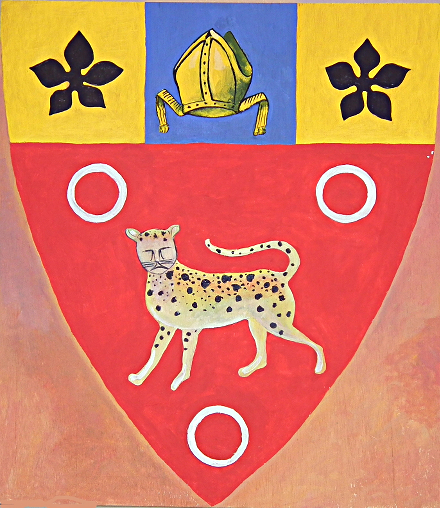 The coat of arms of Prior Bronde as interpreted by the current occupant of the Manor House, Mr Robert Radford.