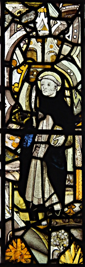 St Cuthbert with flaying knife (although appears to be Bronde?)